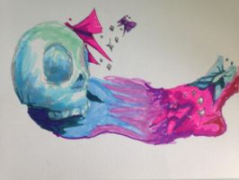skull, paint and butterflies by IKrines