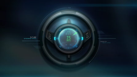 Futuristic Steering Wheel with LCD with GUI Design by Scott-Kane