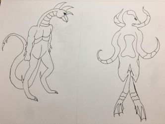 Commission - Hork-Bajir and Leeran Comparison by traycon300