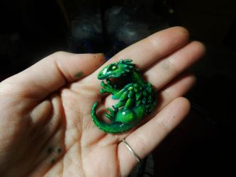 Green Dragon Pendant by PoisonJARCreations