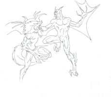 Werewolf vs vampire drawing by electronicdave