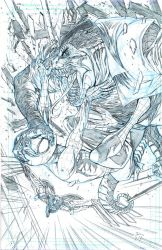 Pin Up 06 Spiderman Lizardman Pencil Small  by donnyhadiwidjaja