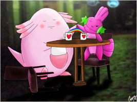 Chansey and Mudkipz by Capuccin017
