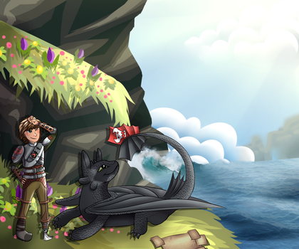 Hiccup and Toothless by Buczka