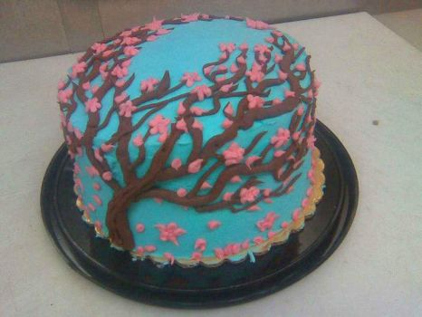 cherry blossom cake by angelazilla