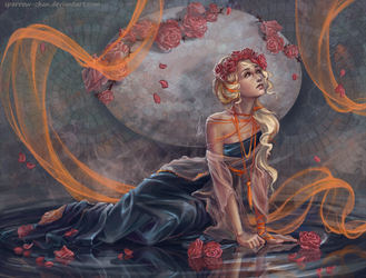 Art nouveau girl in roses by sparrow-chan
