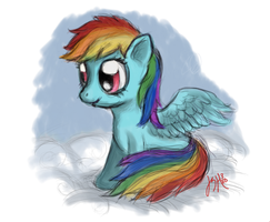 Filly Rainbow Dash on a Cloud Drawing by TurboSolid