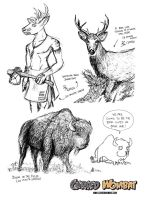 Cursed Wombat - Bison and Whitetail Deer by ElsonWong