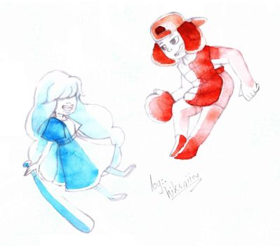 Ruby and Sapphire baseball clothes by Hikarii-chan-tan