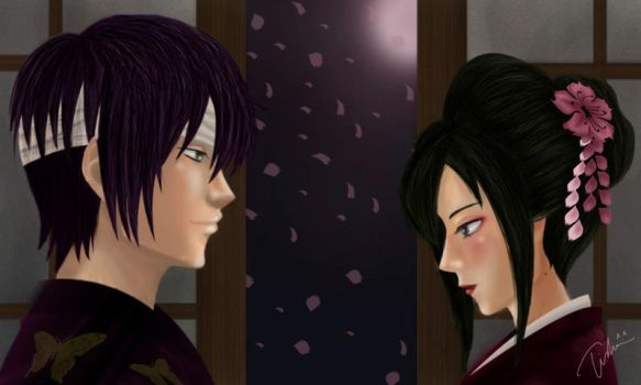 Blossom and Hairpin (Takasugi Shinsuke and OC) by titaniuMoony