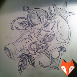 Neotraditinal tattoo sketch, freehand drawing by kvartalist