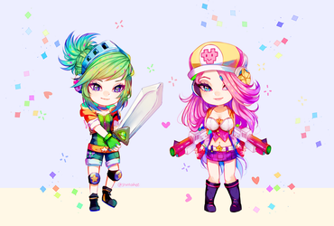 Arcade Riven And Miss Fourtune Chibis [ LOL ] by ShintaRee
