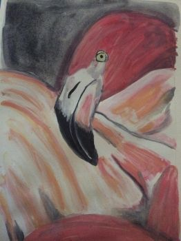 Pink Flamingo in Watercolor by ArtisticPaintbrush