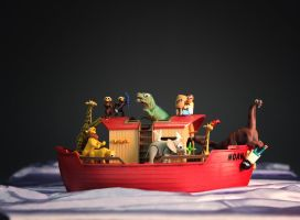 Noah's Ark and the Dinos by mjranum
