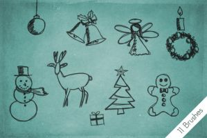Christmas Scribble Brushes by byjanam