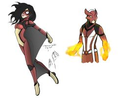 Spider-Woman and Sunfire Redesign by Jun89