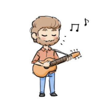 Chibi Rhett playing a guitar (GIF) by StellaPollet