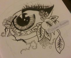 Wide Awake Eye Sketch (WIP) by Wolven-Empress