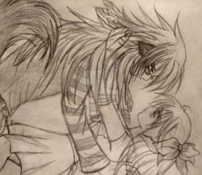 Old Sketch of Minako and OC by Xenythe