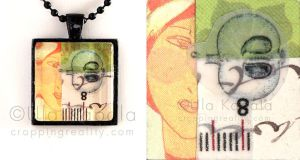 Wearable art - abstract collage pendant 4 by ukapala