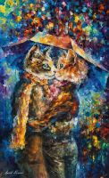 Cat Kiss by Leonid Afremov by Leonidafremov