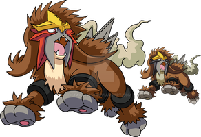 244 - Entei - Art v.2 by Tails19950