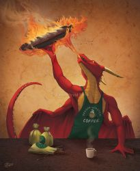 Dragon Roasted Coffee- SpeedPaint by GoldenDruid