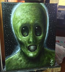Little Green Men 8x10 oil on canvas  by zackdunn89