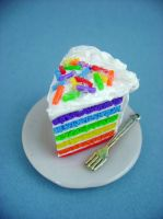 Rainbow Cake Slice by monsterkookies