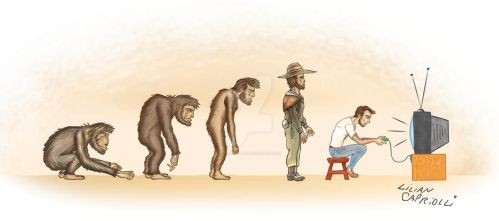Charge cartoon Evolucao do homem evolution of man by licapriolli