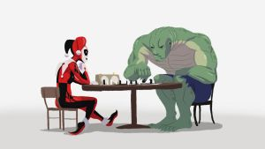 Harley and Croc Play Chess by angryzenmaster