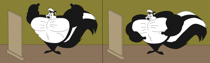 Buff Pepe Le Pew Shows Off In Mirror by NitroactiveStudios
