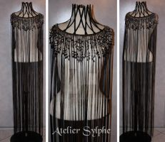 cord and pearl neck corset dress by AtelierSylpheCorsets