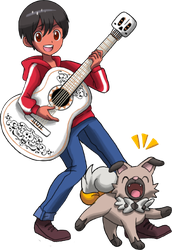 Commission : Miguel with his Rockruff named Piedra by Pavlover