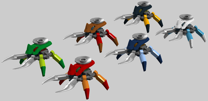Micro-Bionicle -- Visorak standard six types by bonesiii