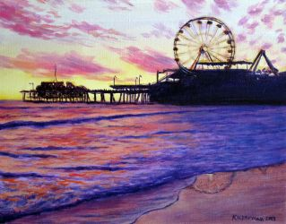 Sunset over Santa Monica Pier by Landscapist