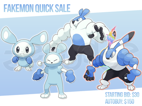 [CLOSED] Fakemon Design Quick Sale #4 by zerudez