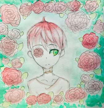 Every Rose Has It's Thorns (Watercolor Sketch) by LunaeEclipse