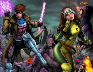 Gambit and Rogue full colors by hanzozuken