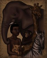Africanboy with his animals... by Filiana