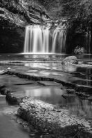 Herisson Falls, Black and White by cwaddell