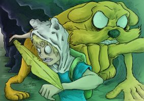 Adventure time finn n jake doing their thing by JuJu-Madness