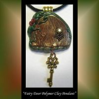 Fairy Door Polymer Clay Pendant by KabiDesigns