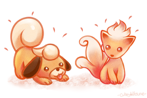 Baby Vulpix And Growlithe by cuteykitsune