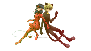 Miraculous Ladybug and Cat Noir by XxUkarixX