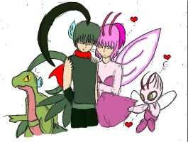 Celebi in love with Grovyle by NarryEevee