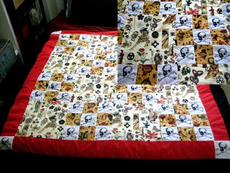 Skulls and Tattoo Quilt by BoredomKillsPie