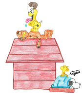Snoopy and Garfield by Neyebur