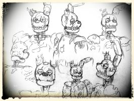 Springtrap sketches. by animedragon12000
