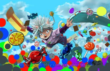 Killua Zoldyck diving into candies by meomeoow